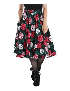 Hell Bunny Ruby Floral Roses 50s Style Circular Skirt