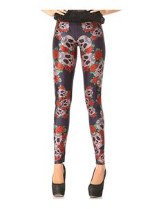 Poisoned Sugar Skull & Red Rose Print Leggings