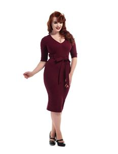 Collectif 50s Style Wine Red Meadow Pencil Dress