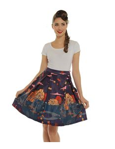 Lindy Bop Marie Purple Autumn Print Skirt