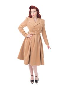 Hearts & Roses Camel Brown Vintage Swing Coat