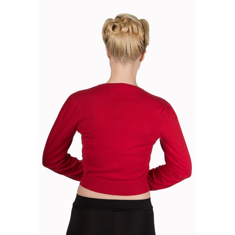 Banned Little Luxury 50s Style Red Cropped Cardigan