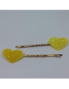 Said Lucy Yellow Glitter Heart Bobby Pins