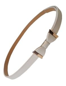 Banned White Faux Leather Belt With White & Gold Bow