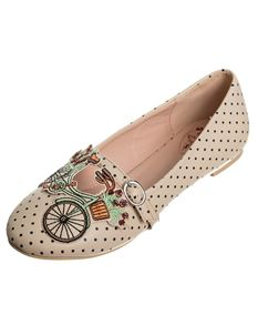 Dancing Days Bicycle For Two Polka Dot Flat Shoes