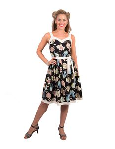 Victory Parade Valerie Pleat Strappy Teapot Print Dress