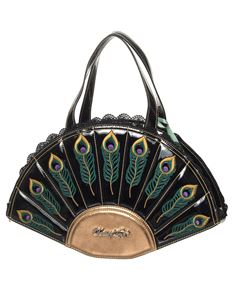 Dancing Days Savage Garden Peacock Feather Handbag