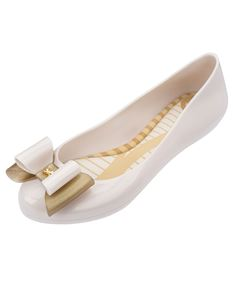 Zaxy Pop Bow3 Cream/Ivory Flat Shoes Gold Glitter Bow