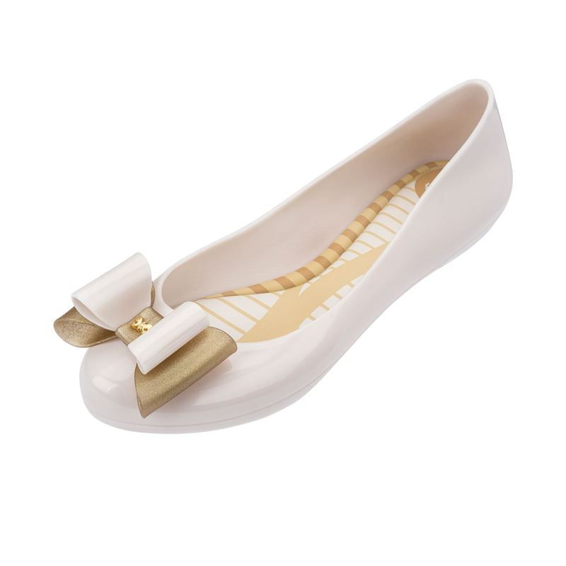 Zaxy Pop Bow3 Cream Ivory Flat Shoes Gold Glitter Bow 7def03f3033d