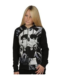 Poisoned Womens Skull Breaker Zip Hoodie