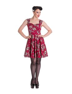 Hell Bunny Idaho Sugar Skull Floral Mini Dress