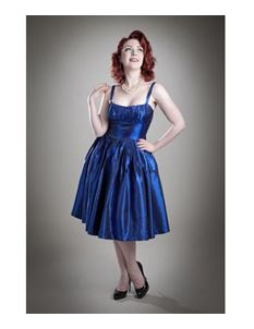 SALE XS only Gerry Roxby 50's Sweet Betty Taffeta Dress Midnight Blue