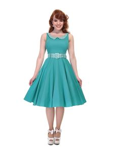 Collectif Kitty Jade Green Gingham Summer Swing Dress