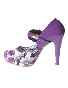 Poisoned Chic Patent Floral High Heel Platform Shoes Purple & White