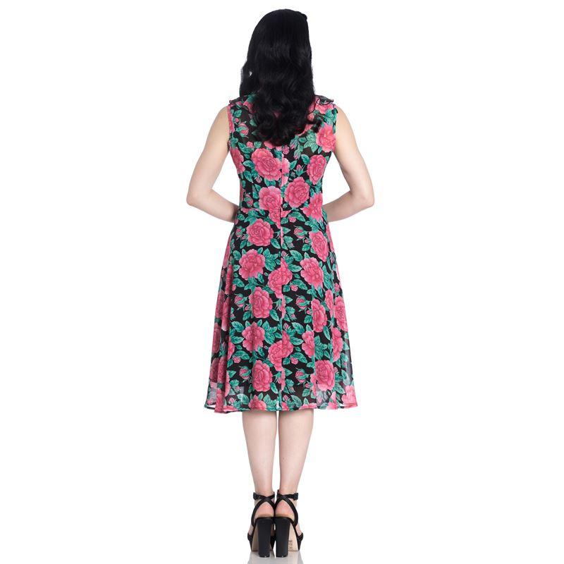 HELL BUNNY DARCY eden rose PINK ROSE floral 50s style DRESS XS-4XL