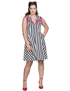 Banned Retro Land Ahoy Nautical Navy Striped Dress