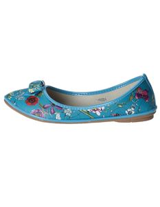Poisoned Floral Mess Ladies Floral Ballerina Flat Shoes Blue