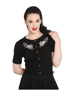 Hell Bunny Thumper 50s Cropped Short Sleeve Cardigan