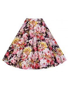 Lindy Bop Peggy Black Pink Floral Skirt Size UK 14