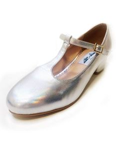 Collectif 40s 50s Chrissie Silver Block Heel Shoes