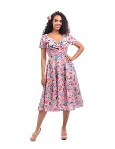 Collectif Maria Country Garden Pink Floral Swing Dress
