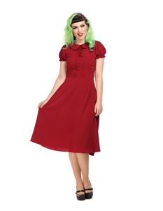 Collectif Mainline 1940's Giannina Burgundy Swing Dress