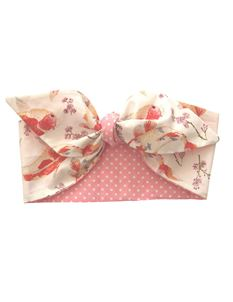 Gas Axe Inc White Koi Carp Pink Polka Dot Head Scarf