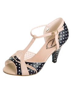 Banned 50's Norma Polka Dot T-Bar Shoes Navy or Coral