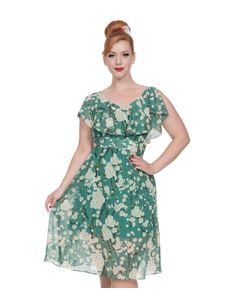 Voodoo Vixen Agatha Green Floral Summer Swing Dress