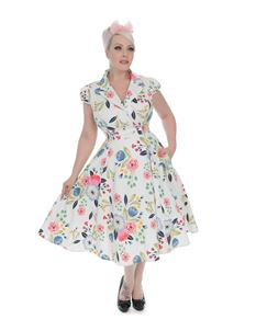 H&R 1940S WW11 Style White Blossom Floral Tea Dress
