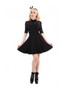 Collectif Wednesday Black Polka Dot 50s Vintage Style Skater Dress