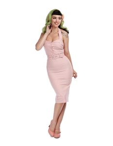 Collectif 40s 50s Wanda Pink Halterneck Pencil Dress