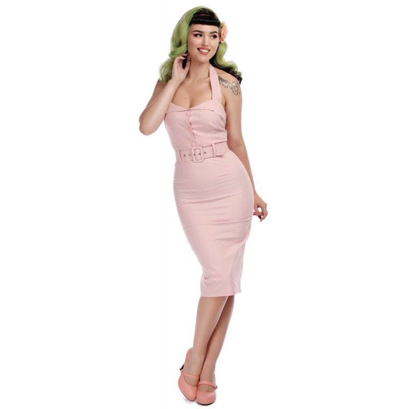 Collectif Wanda Plain Pencil Dress in Pink