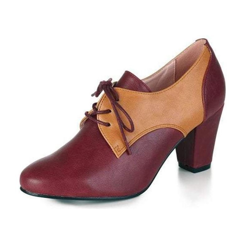 Collectif 40s Vera Burgundy Brown Spectator Shoe Boots