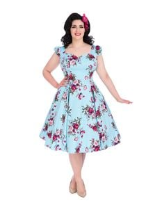 Hearts & Roses Sky Blue Floral Blossom Swing Dress