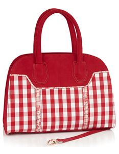 Ruby Shoo Cancun Red Gingham Carry Handbag Bag
