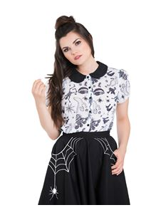 Hell Bunny Spooky Ghost Halloween Chiffon Blouse