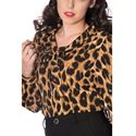 Banned Leopard Lady Pussy Bow Animal Print Blouse Shirt
