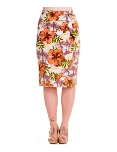 Hell Bunny 50s Kaila Vintage Inspired Tropical Wiggle Pencil Skirt