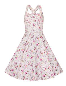 Bettie Vintage White Eden Halterneck Floral Dress