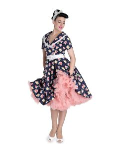 Hell Bunny 50's Emma Vintage Style Floral Polka Dot Dress
