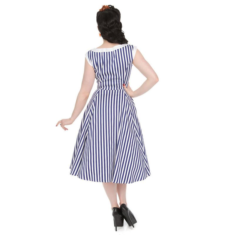 Hearts and Roses Blue and White Stripe Hepburn Sleeveless Dress