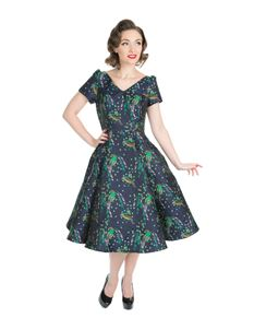 Hearts & Roses 40s 50s Style Floral Blue Evening Dress