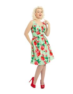 Voodoo Vixen 50's Floral Summer Dress Green