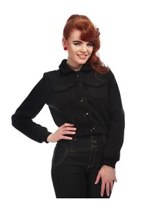 Collectif Vintage Style Black Cheyenne Plain Gab Jacket