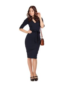 Collectif 50s Style Navy Blue Meadow Pencil Dress