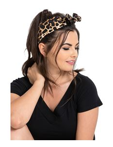 Hell Bunny Leopard Black Reversible Hair Tie Scarf