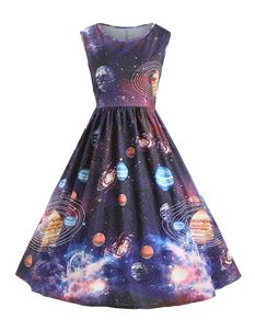 Vintage Style Starry Sky Planet Space Dress