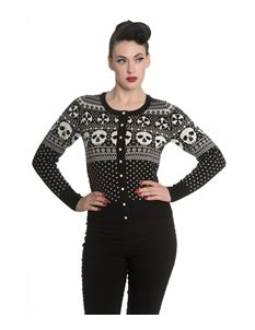 Hell Bunny Clara Christmas Skull Snowflake Alternative Cardigan