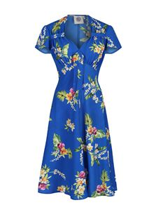 Pretty Retro 40s Style Blue Tiki Orchid Tropical Print